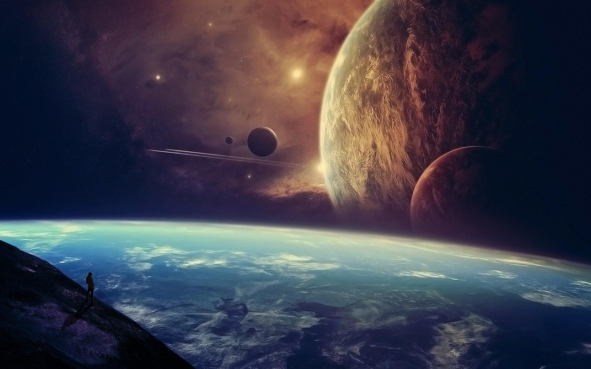 Fantasy Planets Space Spaceship Wallpaper