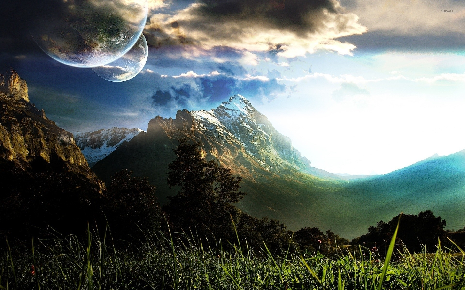 Planets over the mountains wallpaper jpg