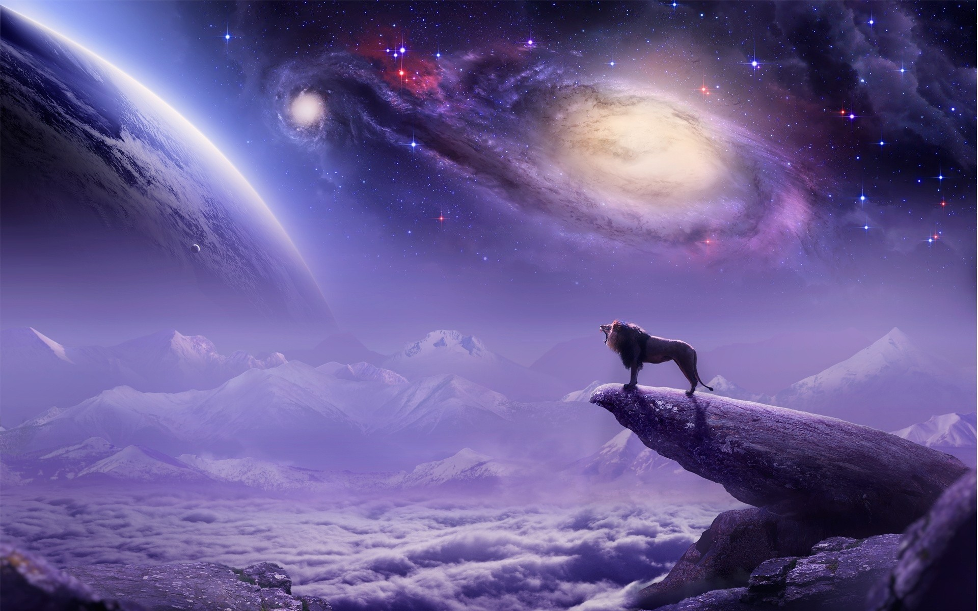 paintings airbrush cg digital art lion landscapes fantasy mountains clouds  dream king sci fi sky stars