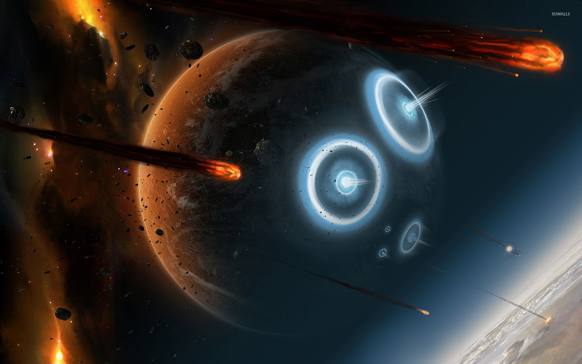 Planets hit by asteroids wallpaper jpg