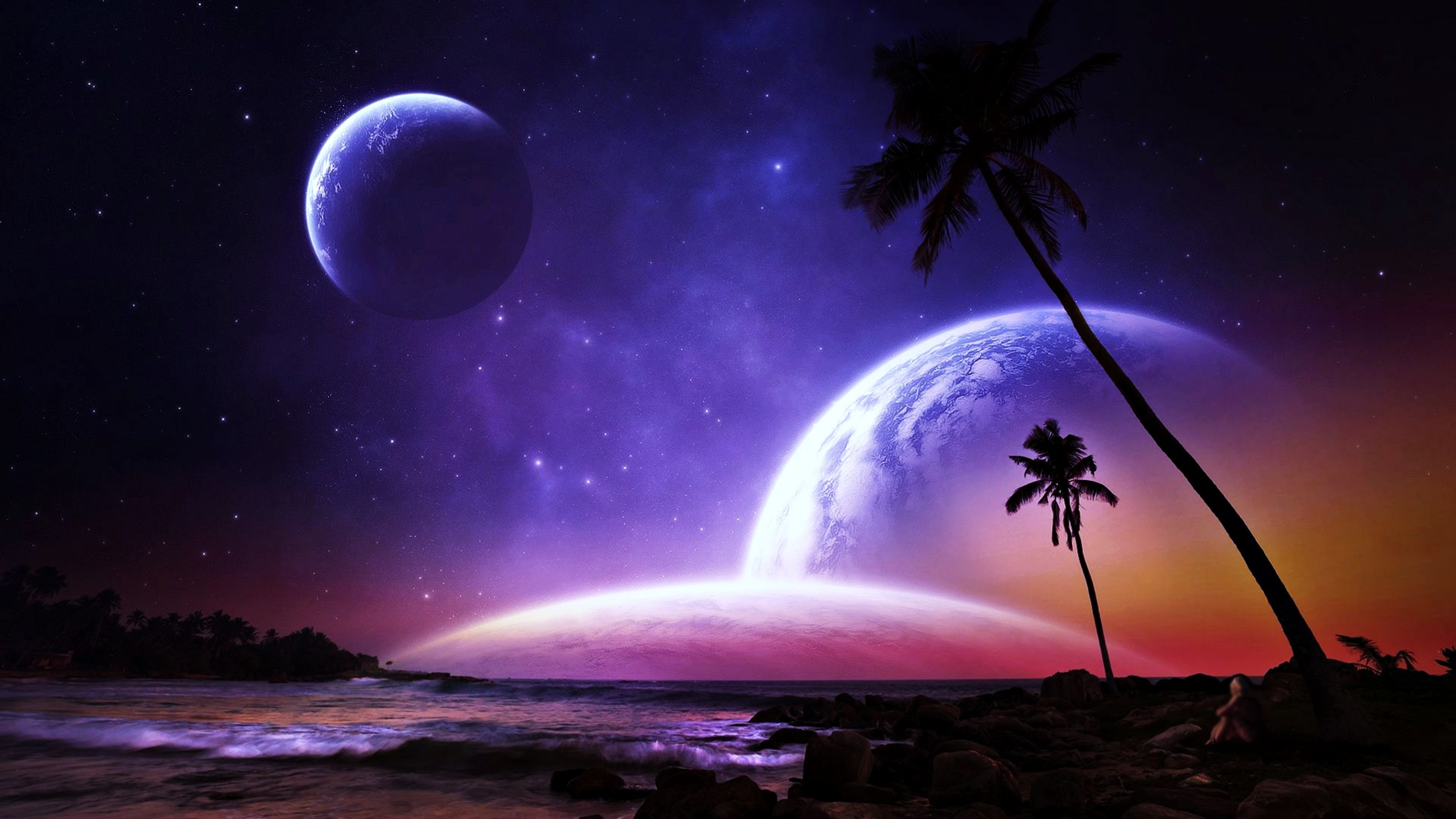 Planets palms fantasy dreams colorful beaches space stars galaxy worlds  earth wallpaper | | 646602 | WallpaperUP