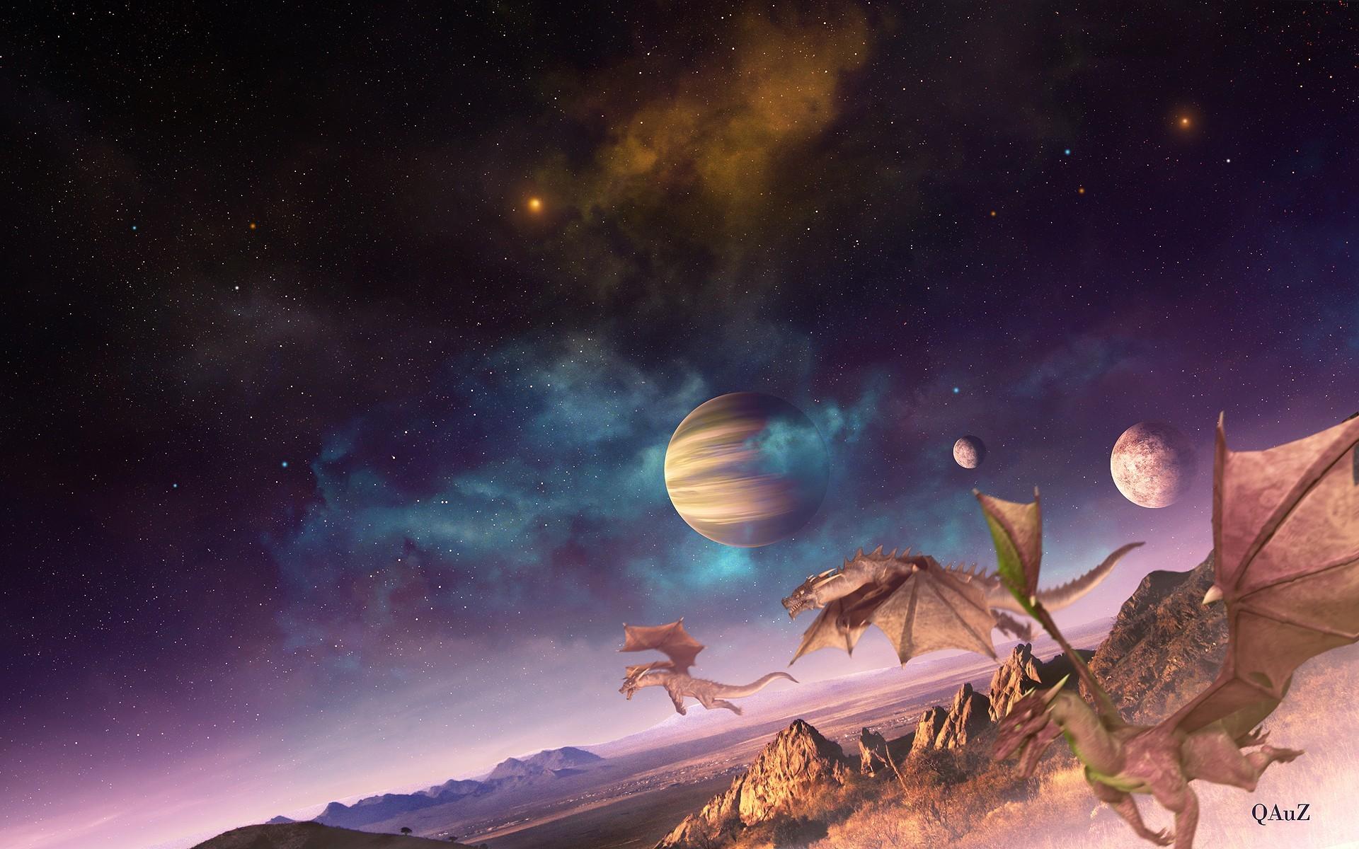 Outer space fantasy art digital art creatures dragons fantasy planets  landscapes wallpaper | | 58929 | WallpaperUP