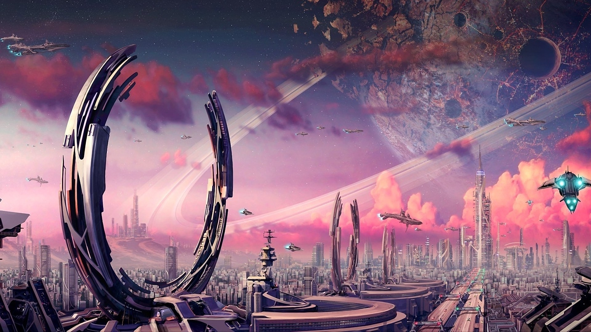 Futuristic Planets Fantasy Art Spaceships Science Fiction Artwork Airship  Cities Wallpaper At 3d Wallpapers