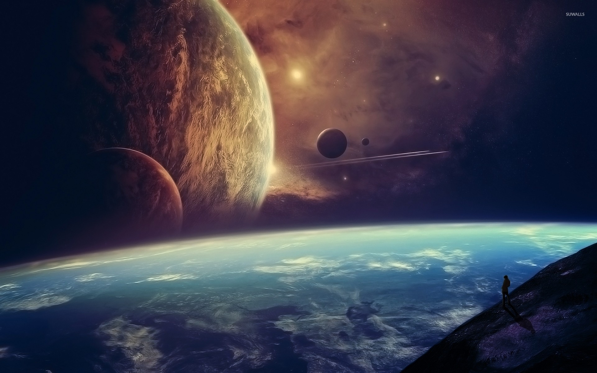 Planets in the horizon of a blue planet wallpaper jpg