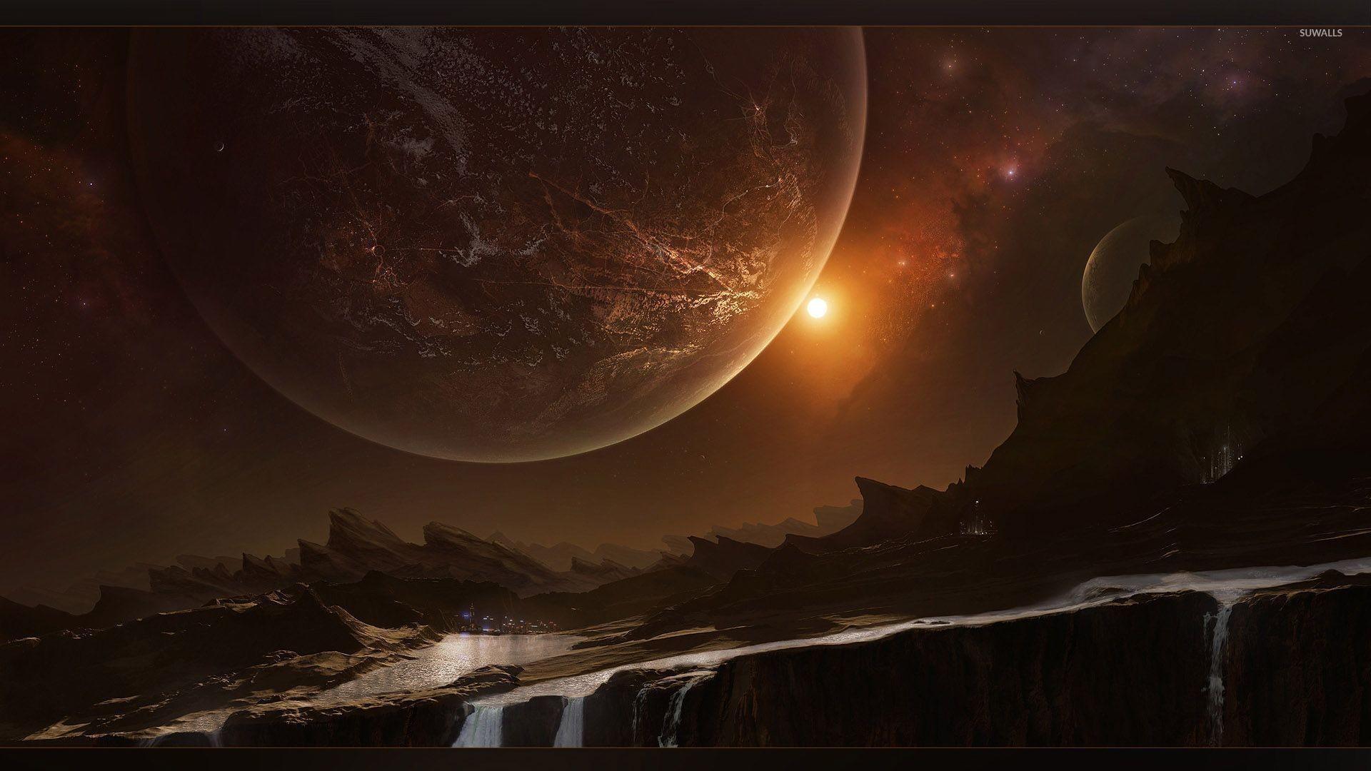 Mountain river on strange planet wallpaper
