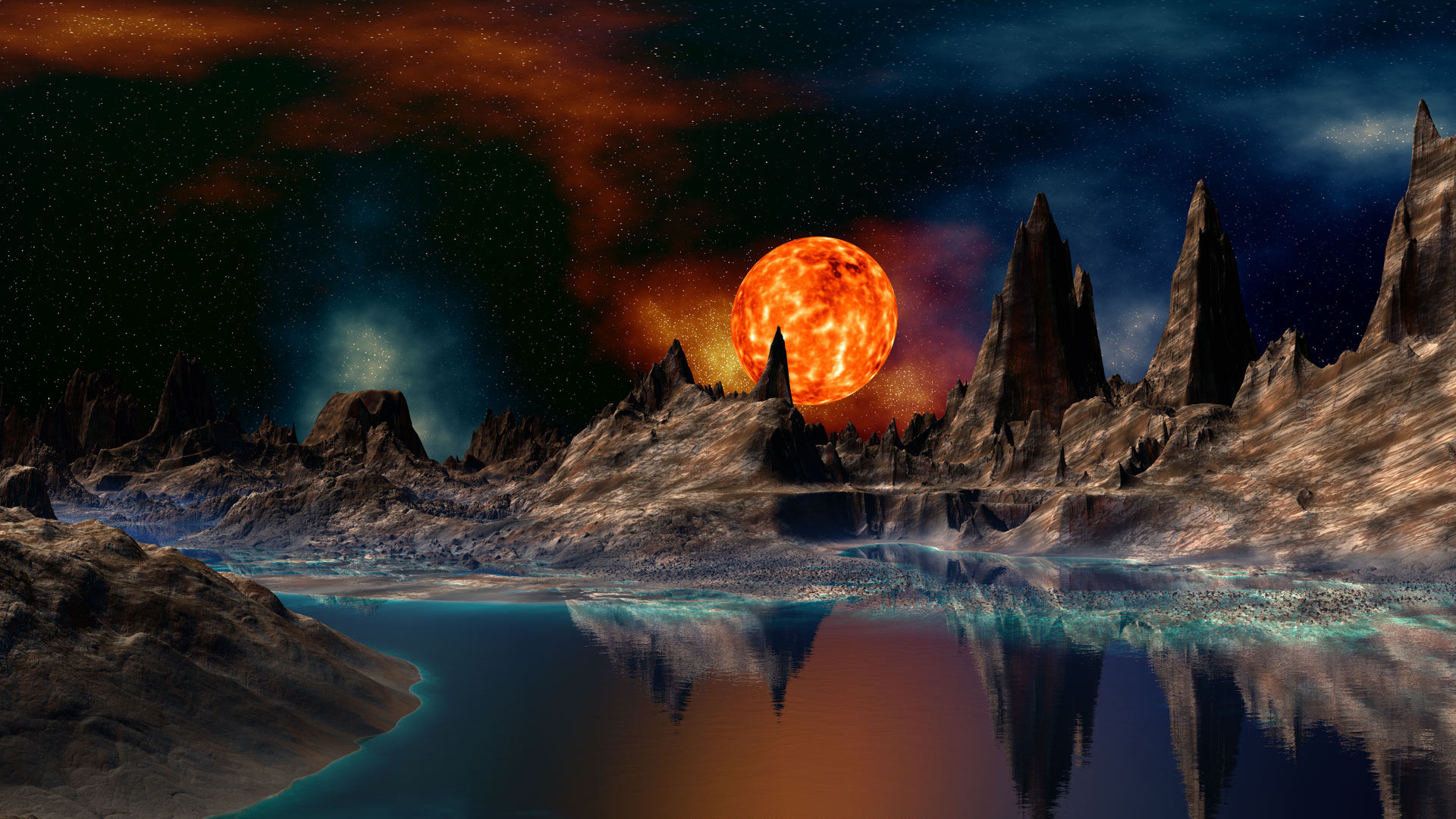 Space Fantasy View With Burning Planet Wallpaper