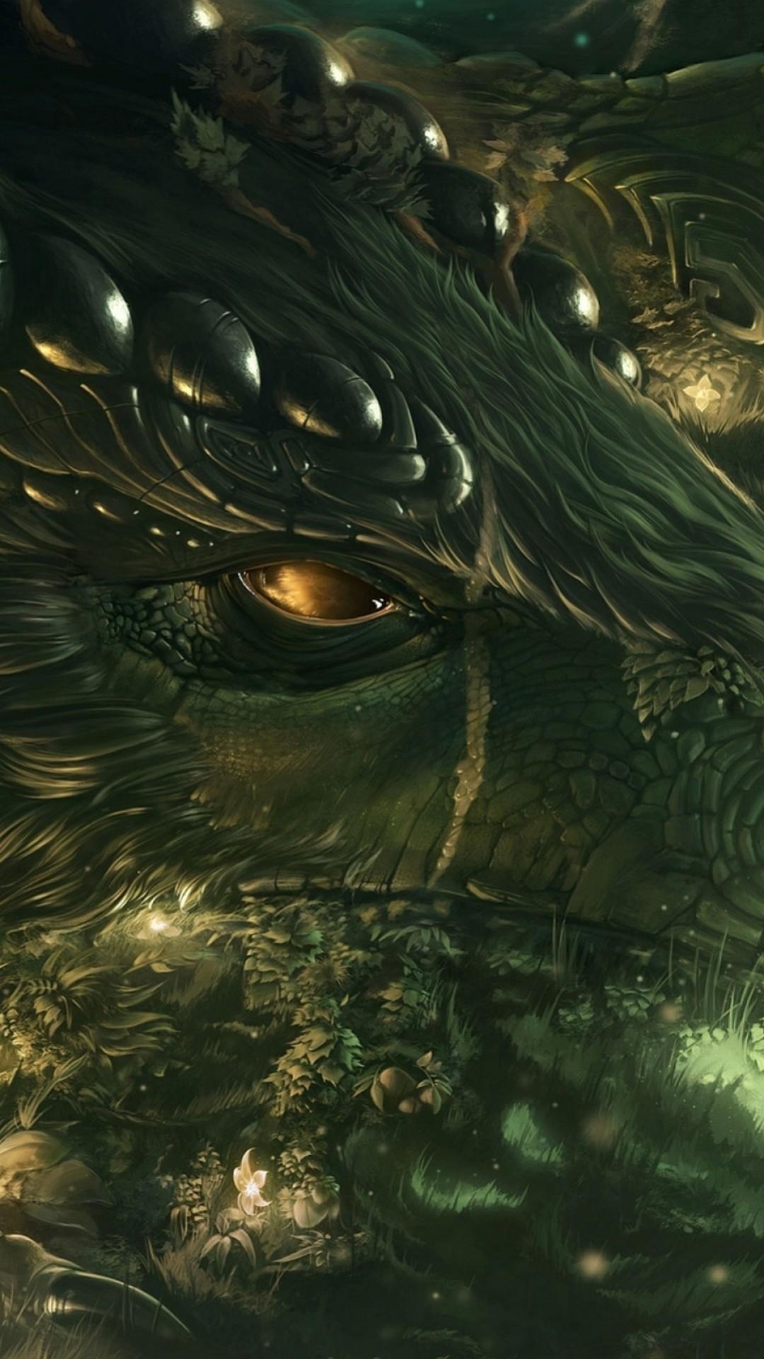 Preview wallpaper dragon, girl, forest, art 1080×1920