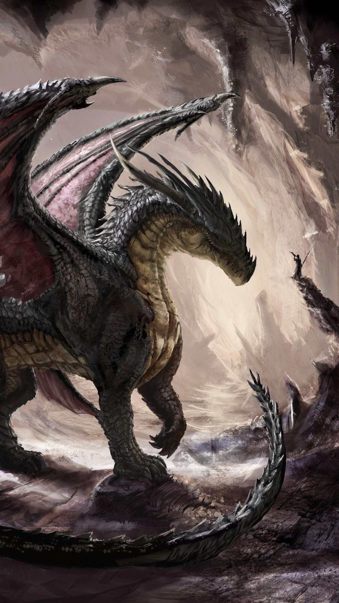 Wallpaper dragon, cave, light, art