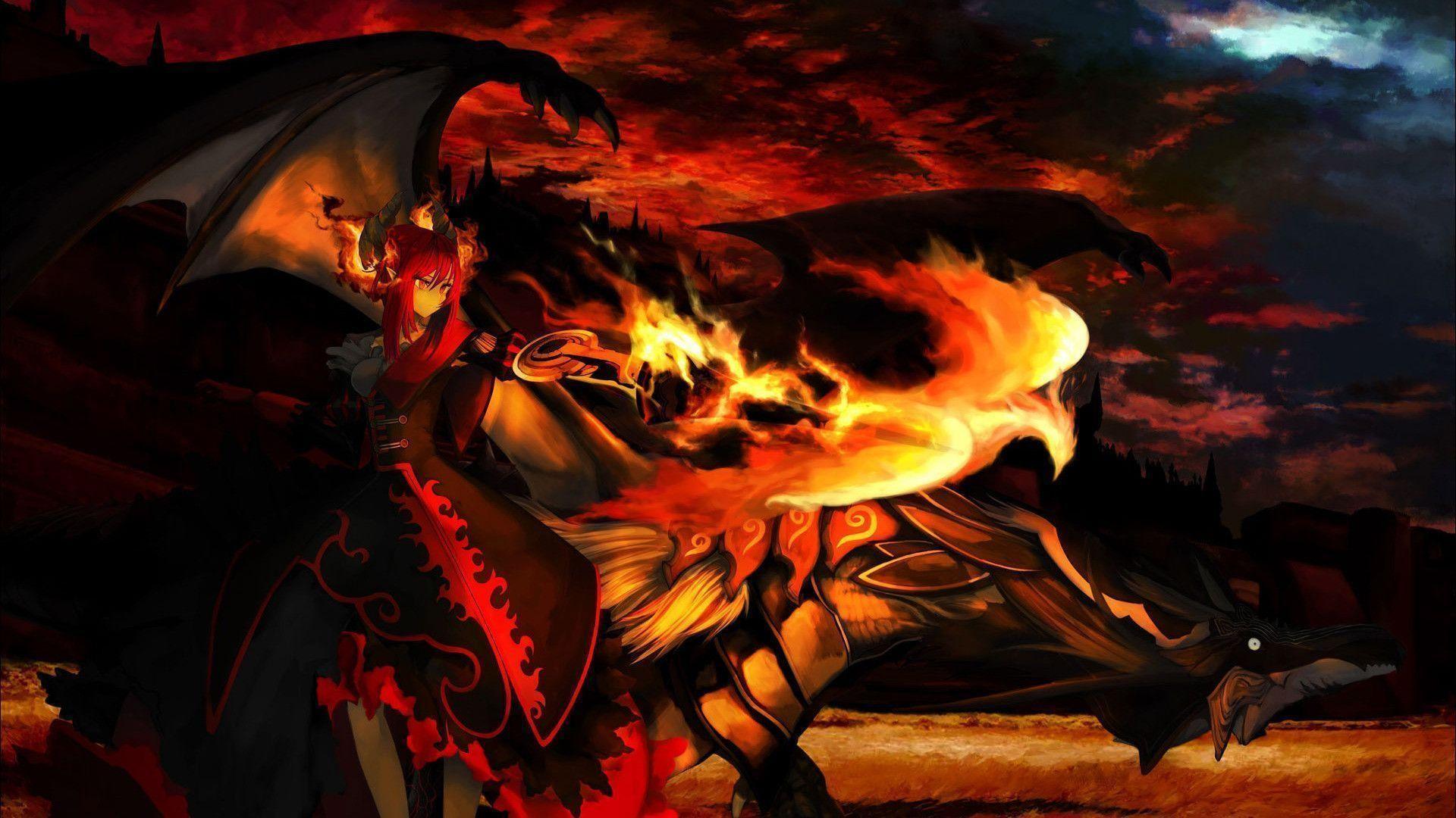 Wallpaper, Demon girl next to a dragon Wallpaper Wallpaper Hd ..
