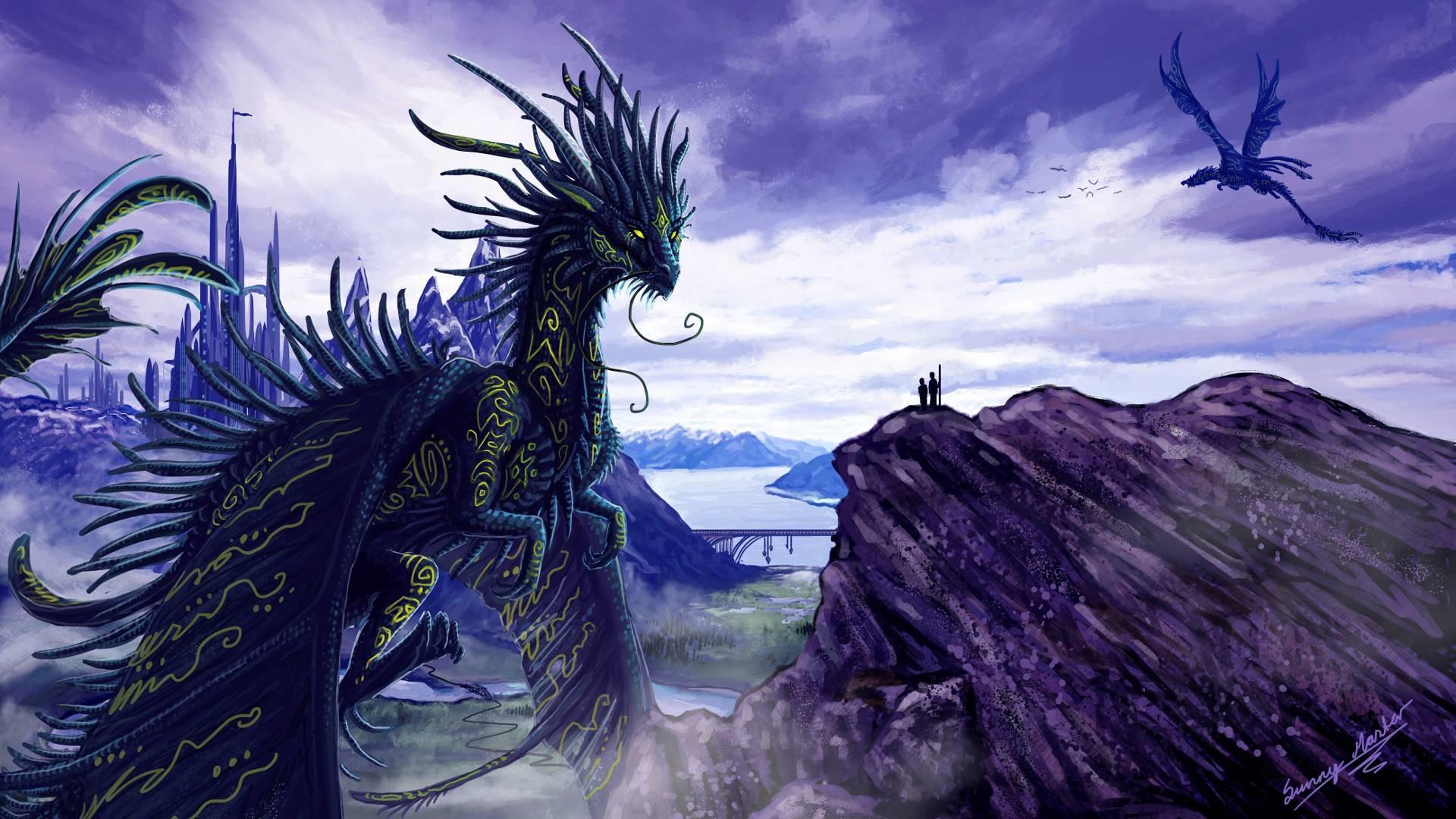 Wallpapers For > Purple Dragon Wallpaper