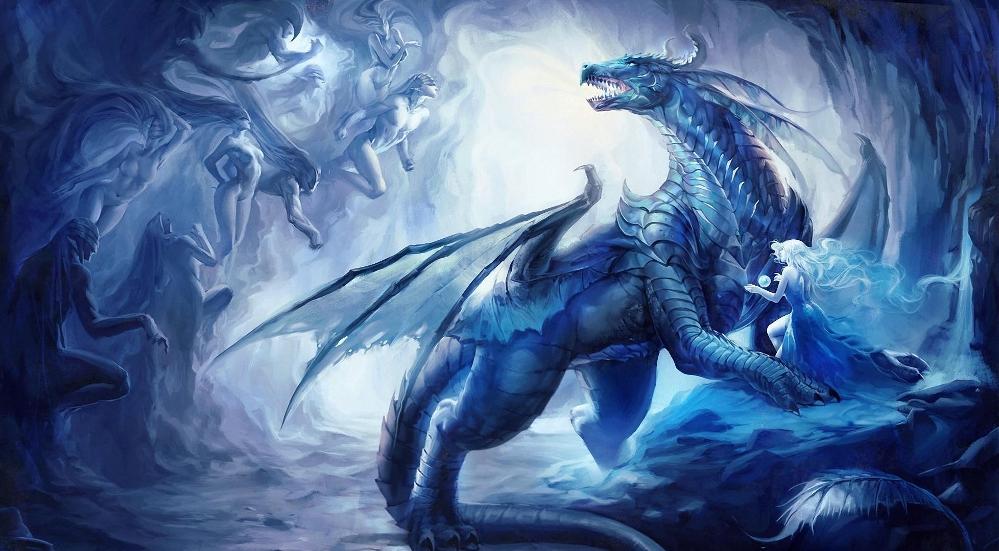 Fantasy Ice Dragons Free Wallpaper
