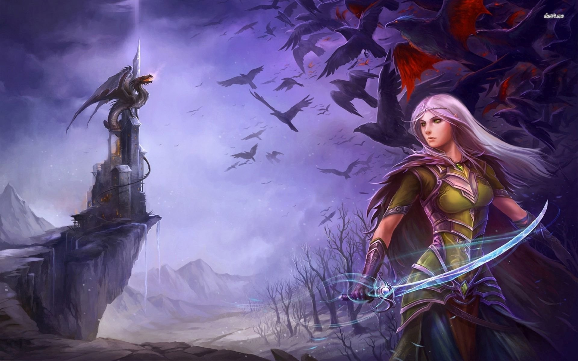 Purple Haired Girl With Crows And Dragon