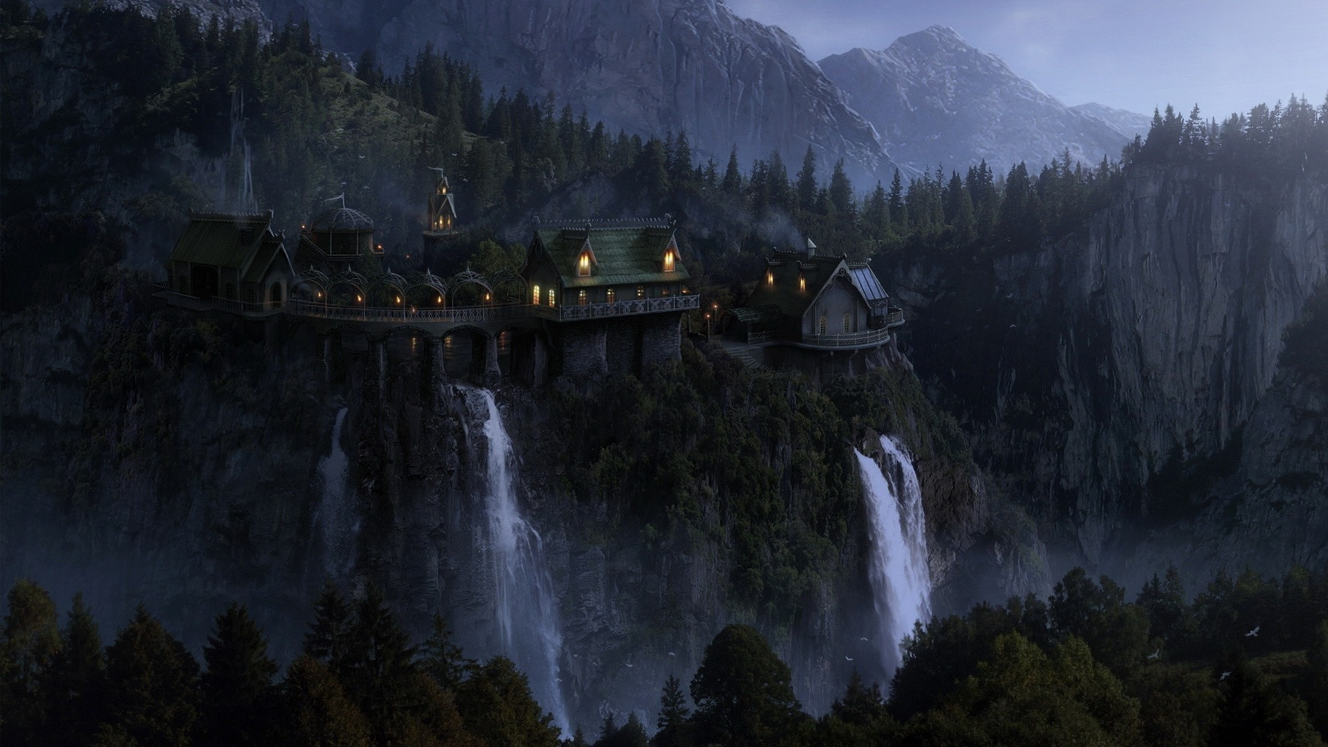 landscape, The Lord Of The Rings, Rivendell, The Hobbit, Fantasy Art  Wallpapers HD / Desktop and Mobile Backgrounds