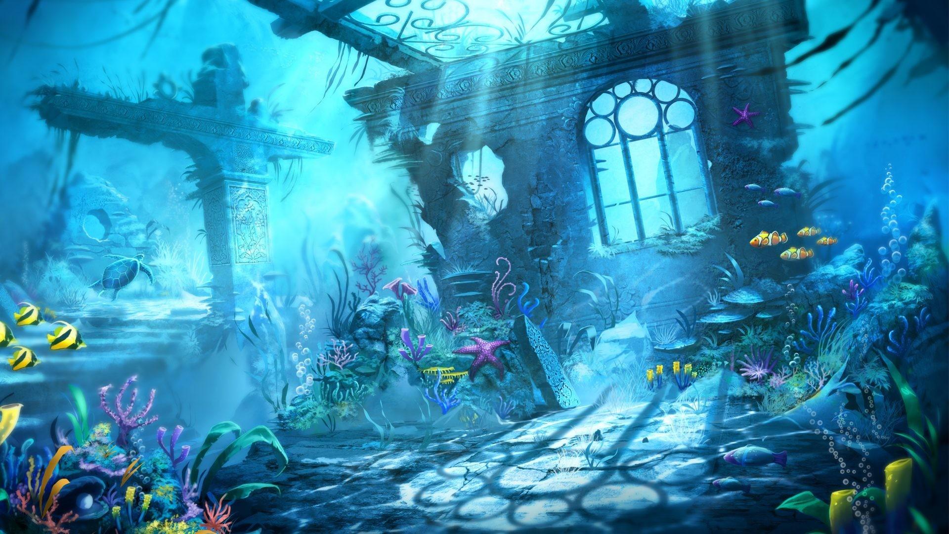 Oceans – Blue Water Mermaid Underwater Scene Sharks Beauty Ocean Desktop  Wallpaper Oceans for HD 16