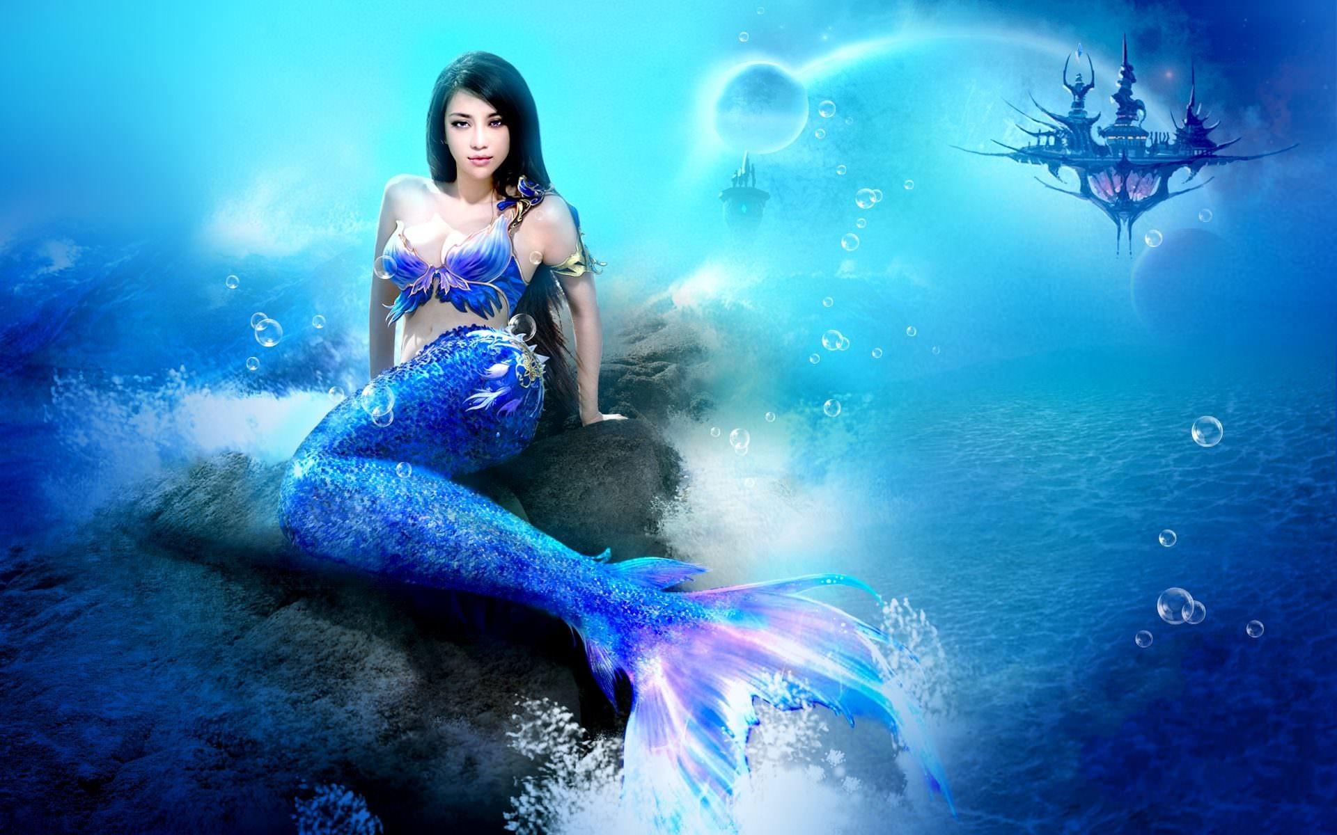 Mermaid On Rock Background