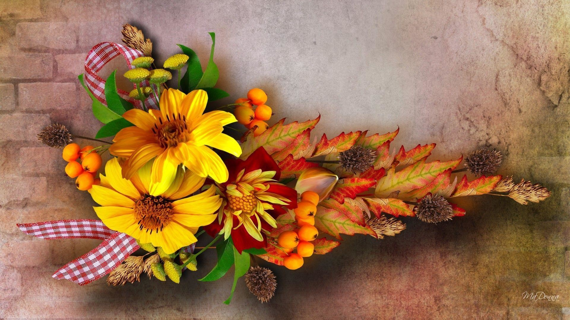 Fall Flowers And Pumpkins Wallpaper