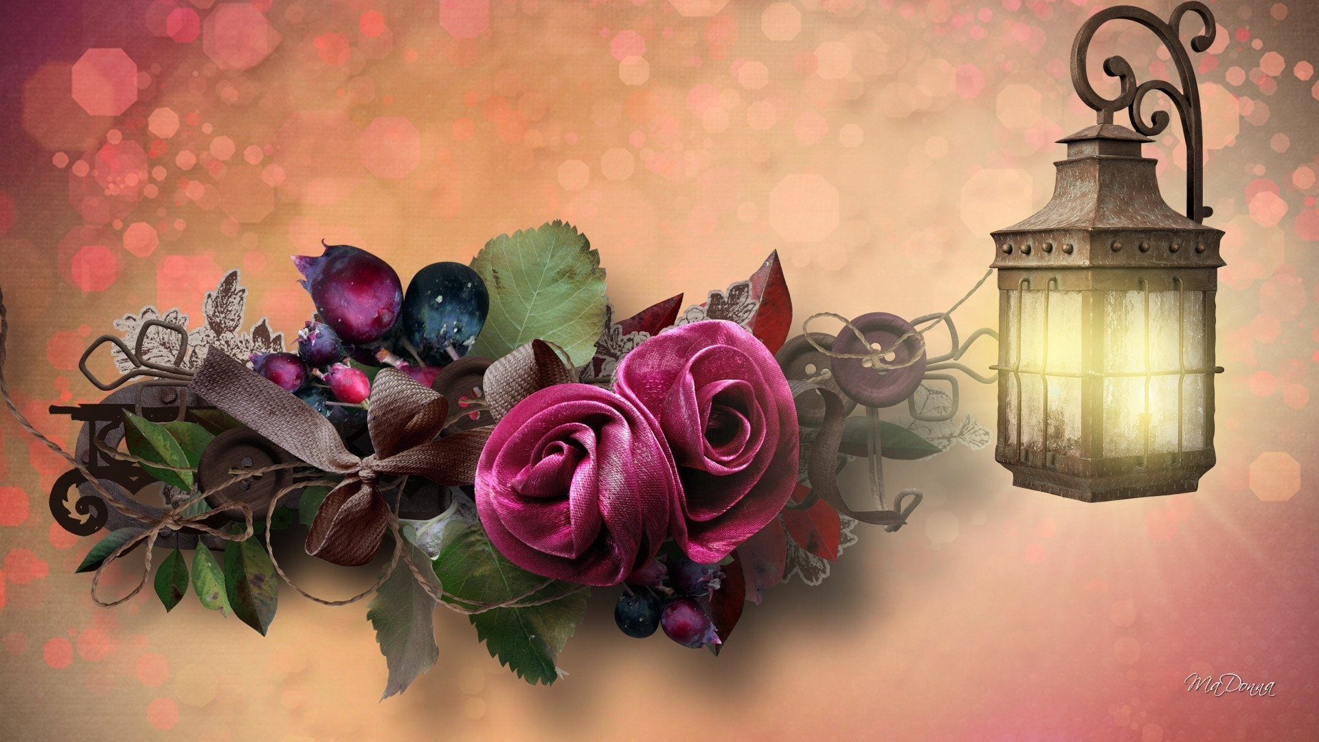 Berries Roses Bows Light Buttons Lamp Fall Floral Leaves Autumn Flowers  Riabbon Japanese Flower Wallpaper – 1920×1080