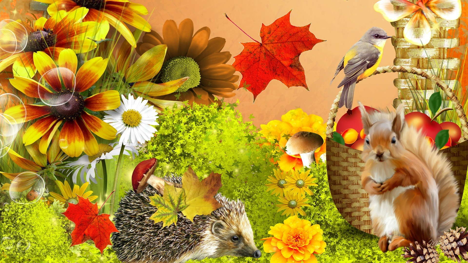 Ivy Tag – Autumn Flowers Fruit Squirrel Ivy Mushrooms Fall Bird Apples  Porcupine Fleurs Nuts Whimsical