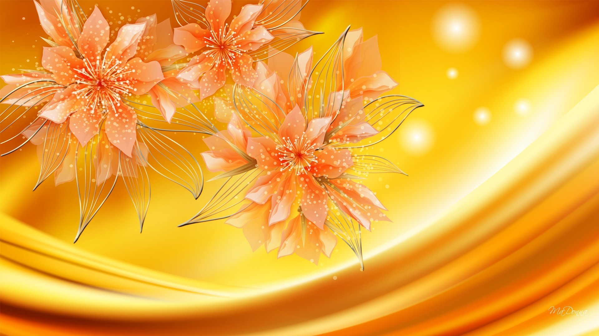 Shine Orange Waves Sparkle Autumn Gold Glow Color Colors Flowers Swirls Fall  Amber Abstract Wave Flower Wallpaper Desktop Full Size Detail