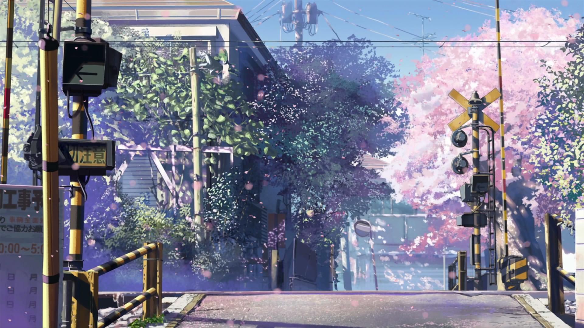 Cherry blossoms streets Makoto Shinkai railroad tracks roads 5 Centimeters  Per Second railroads railroad crossing wallpaper