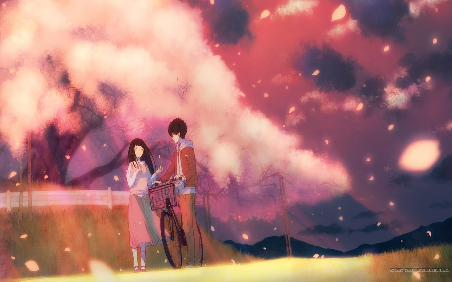 Anime anime Hyouka cherry blossom Chitanda Eru Oreki Houtarou