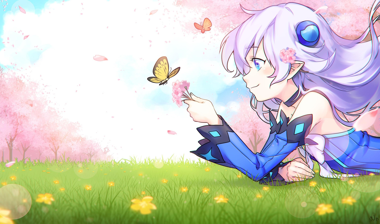 anime Girls, Lu (Elsword), Elsword, Aqua Eyes, Butterfly, Cherry Blossom,  White Hair, Pointed Ears, Grass Wallpapers HD / Desktop and Mobile  Backgrounds