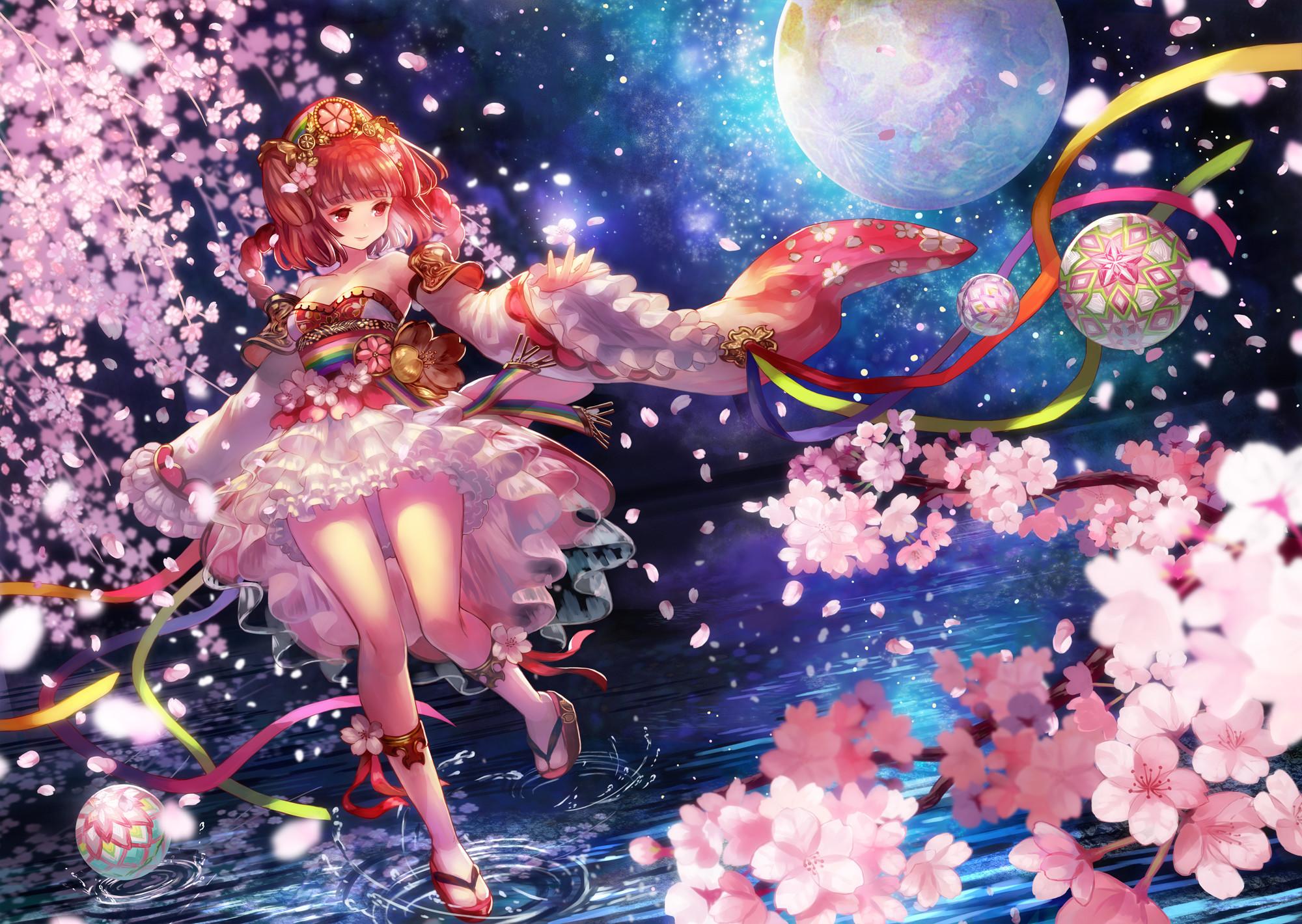 Anime – Original Anime Original (Anime) Girl Long Hair Red Hair Armor Braid  Cherry