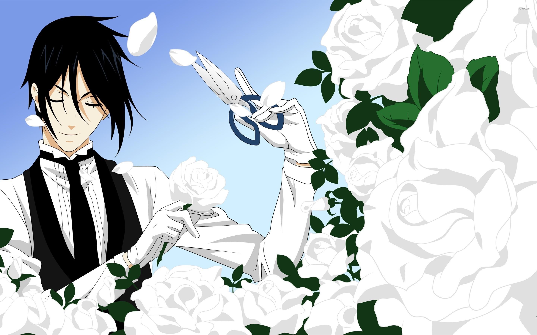 Black Butler trimming the white roses wallpaper