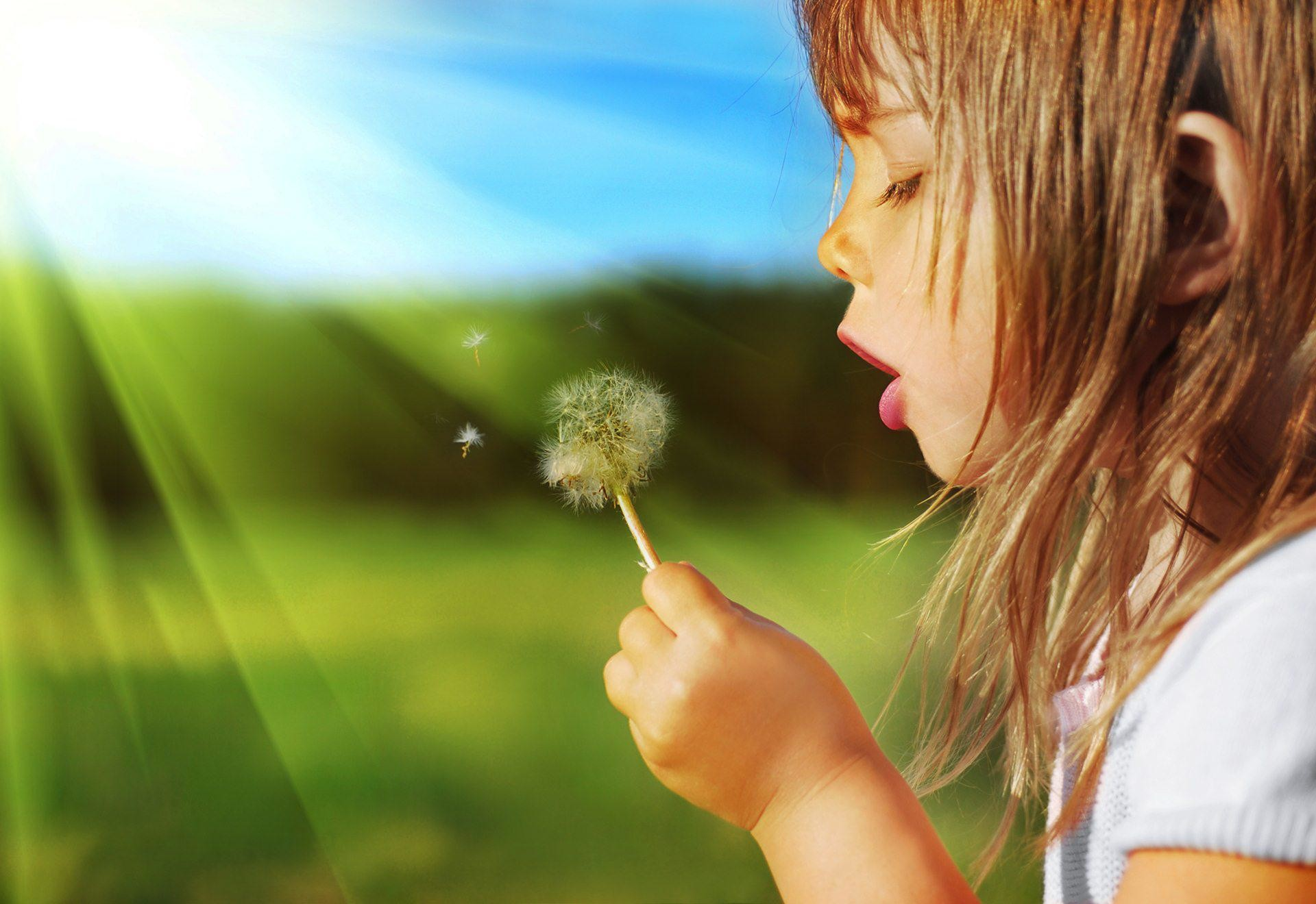 Sweet Child Girl Blowing Dandelion Plant