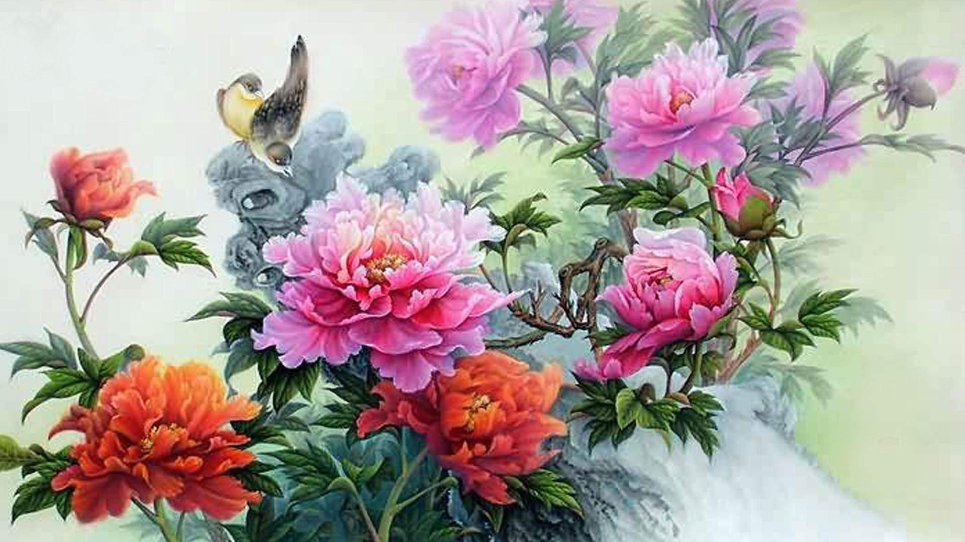 Peonies Tag – Flower Chinese Summer Painting Oriental Flowers Birds Bird Peonies  Desktop Hd for HD