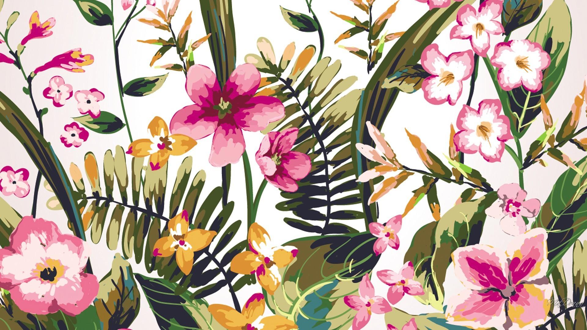 Watercolor Garden HD Desktop Background wallpaper free