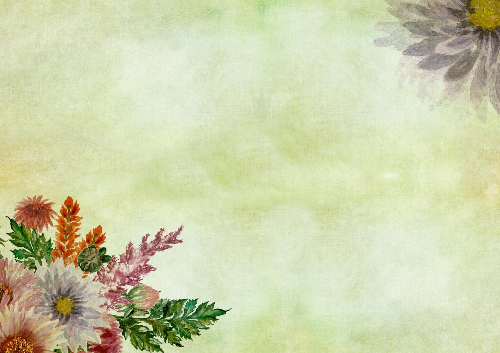 … Flowers Watercolor Vintage Painting …