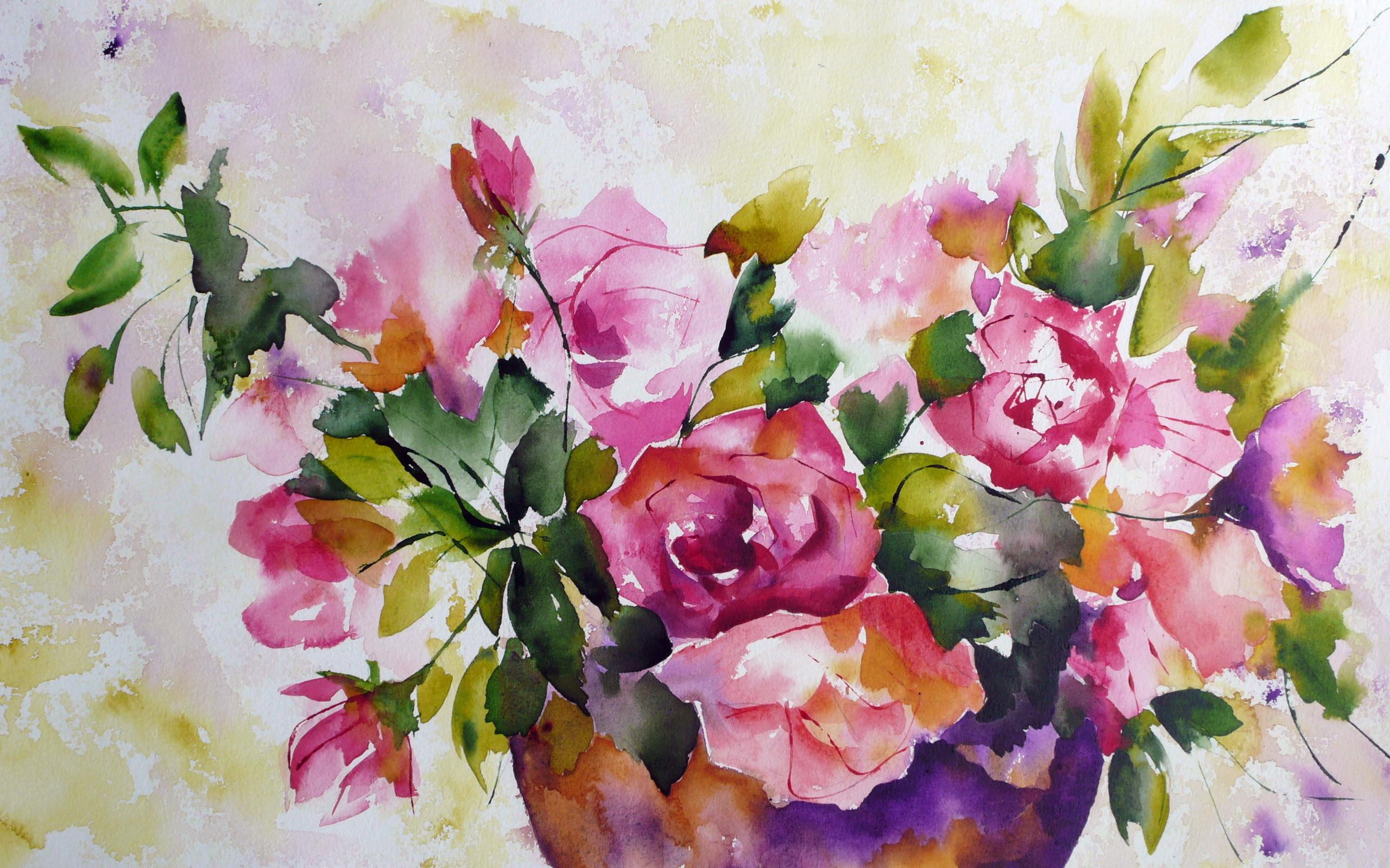 Flowers Watercolor Oil Painting Wallpaper Forwallpaper Com