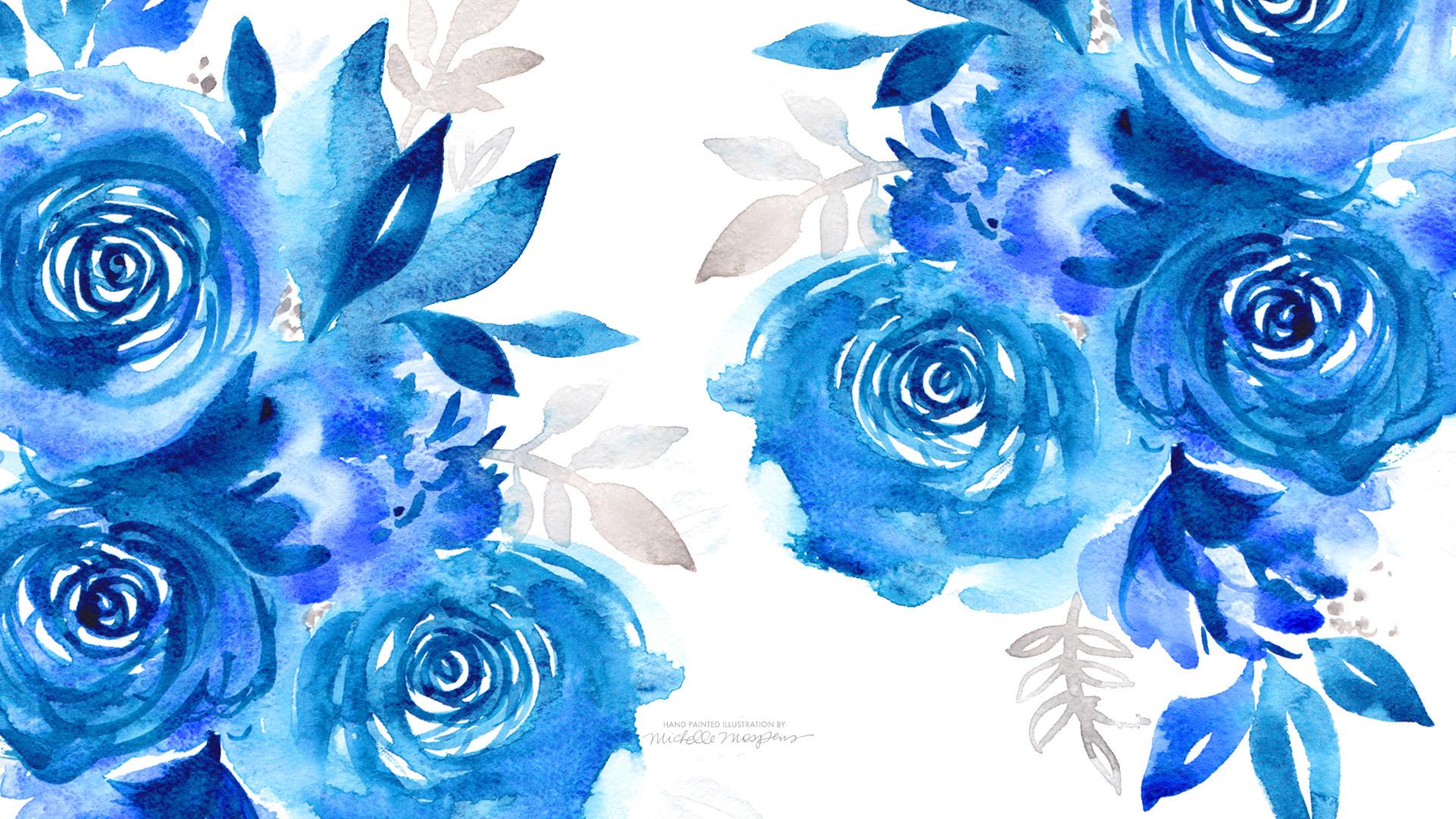 January Watercolor Blooms Desktop Downloads for your tech by Michelle  Mospens. www.MospensStudio.