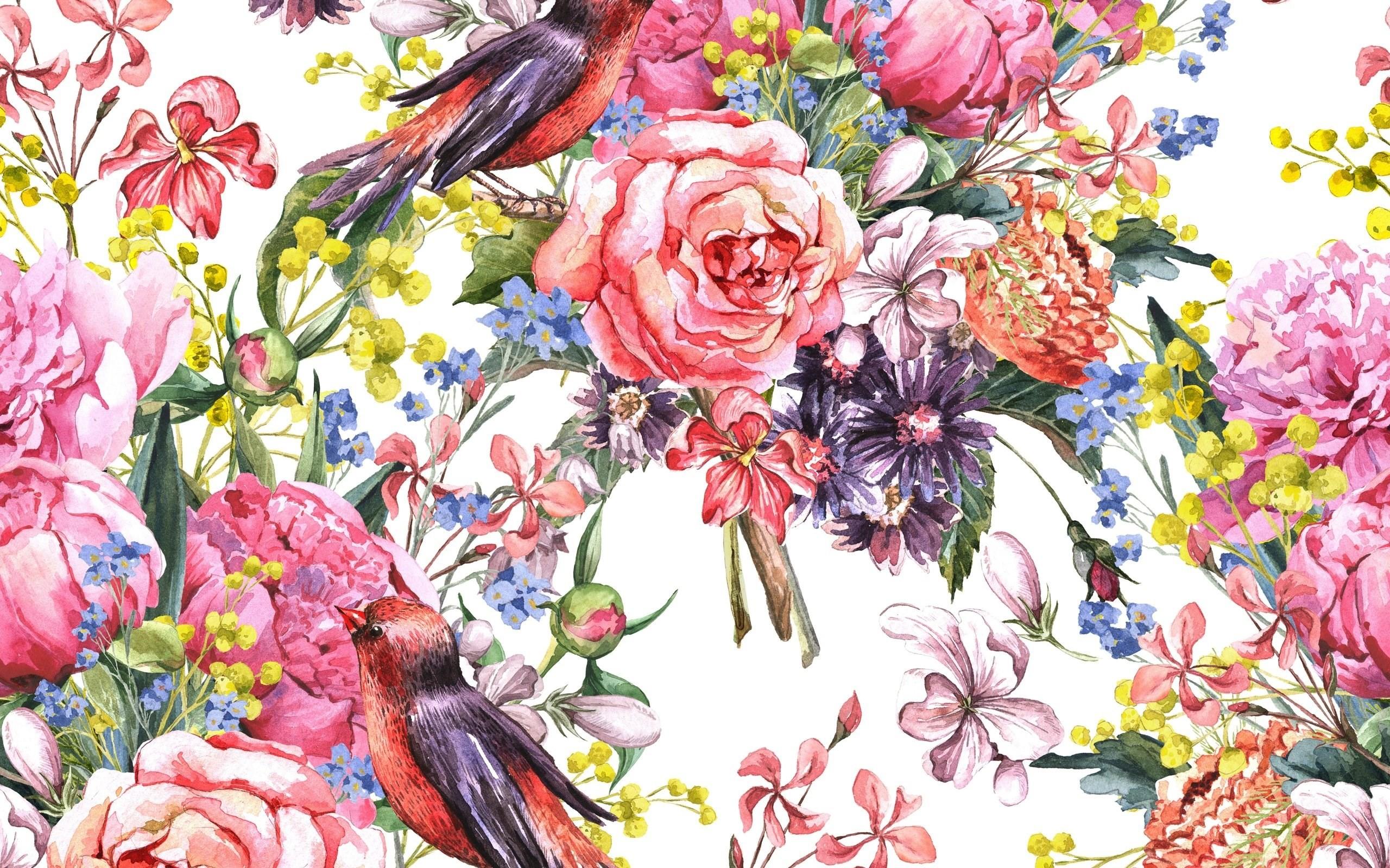 painting watercolor flowers birds