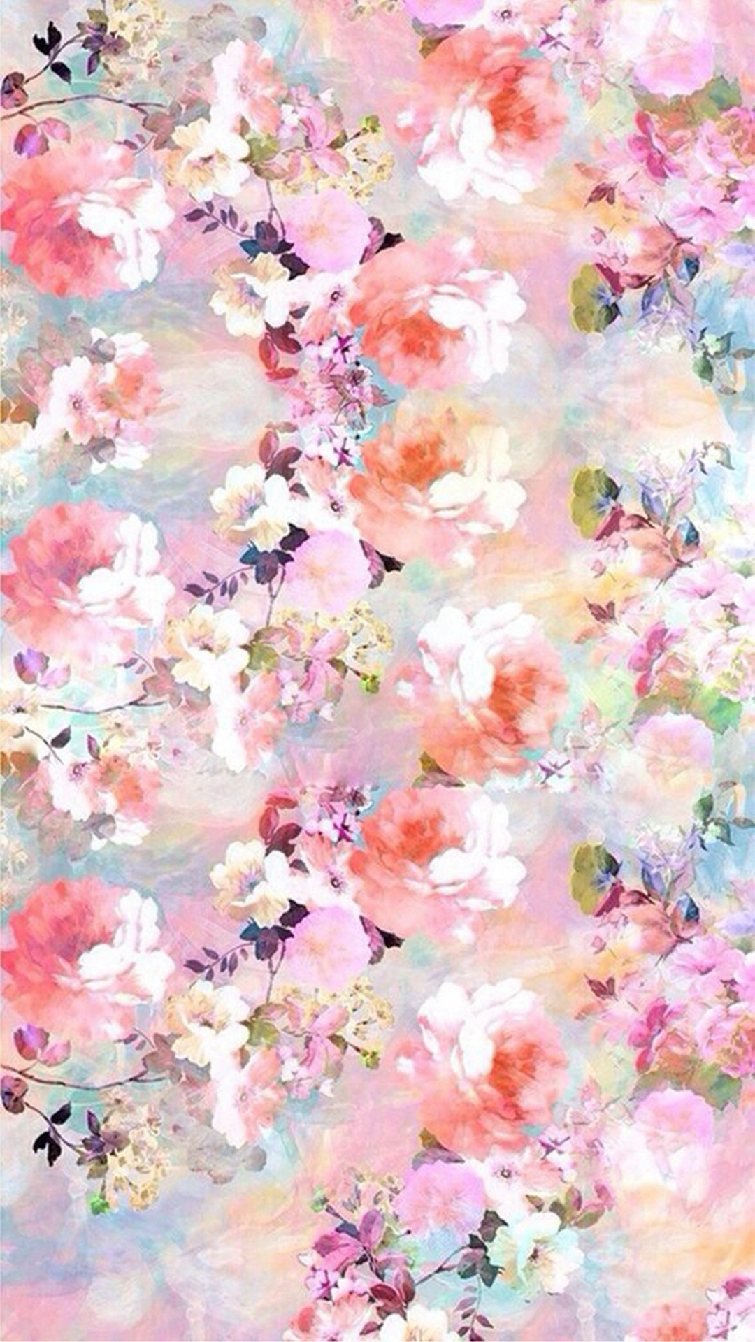 Watercolor Flowers Painting iPhone 8 wallpaper