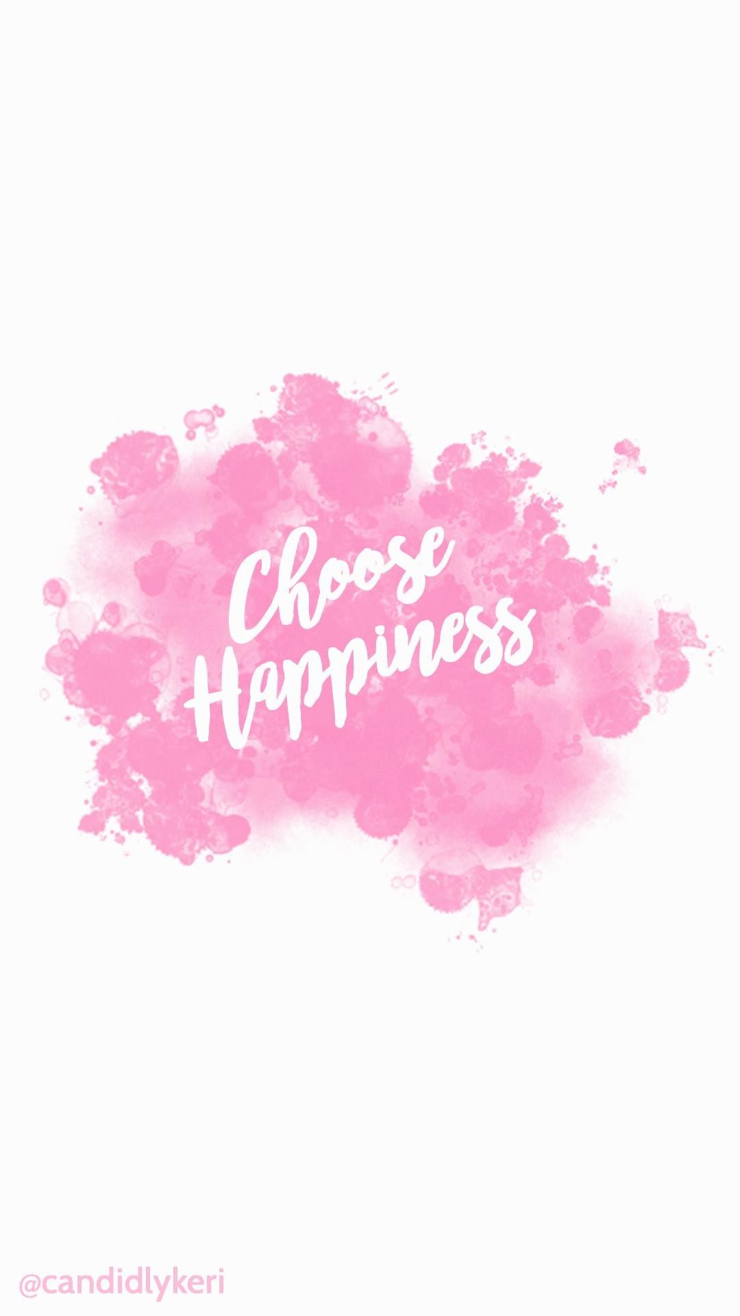 Choose-Happiness-quote-pink-splatter-paint-watercolor-with-. Cute-Flower- wallpaper-wp2003778