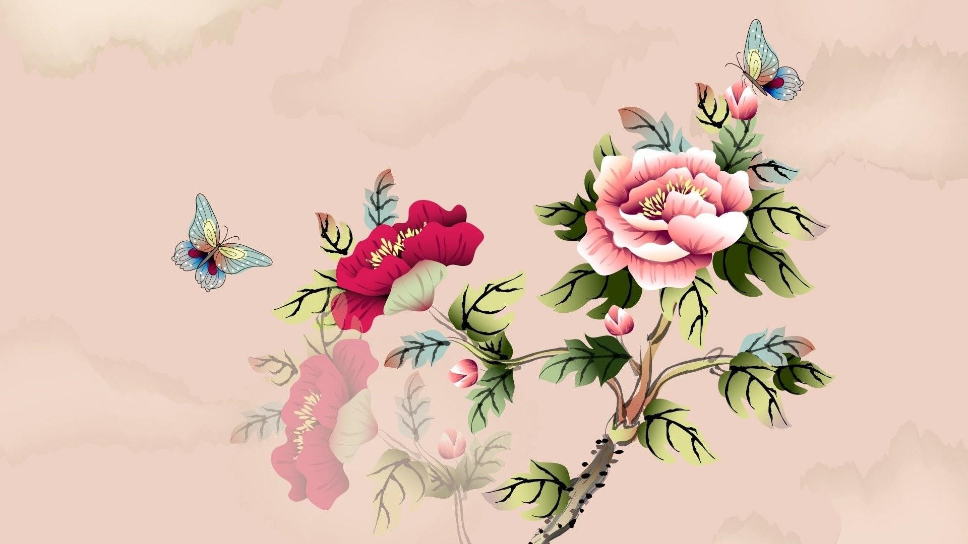 art watercolor butterfly flower branch