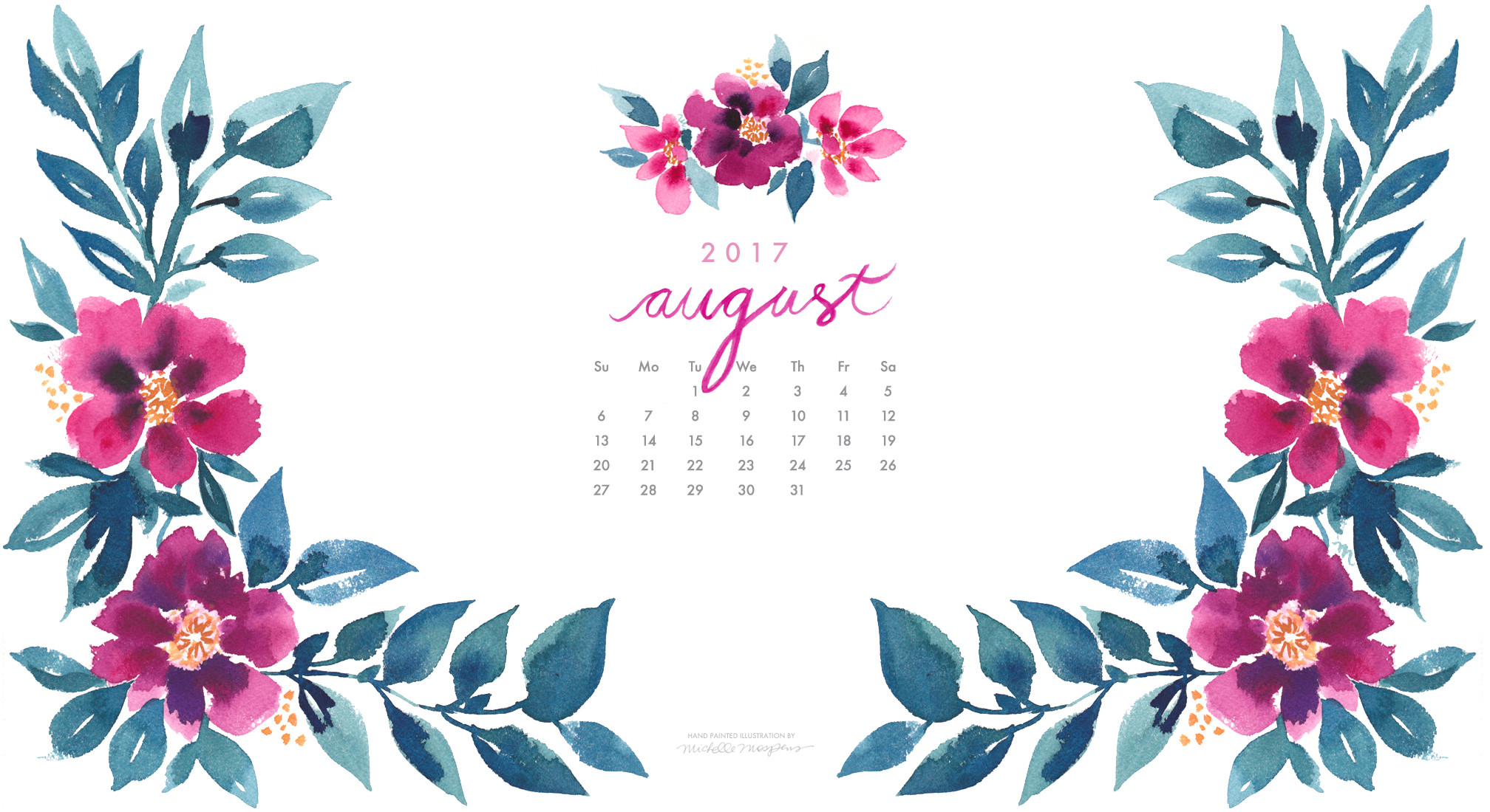 Pretty posy watercolor August 2017 calendar wallpaper for your computer.  100% original art by