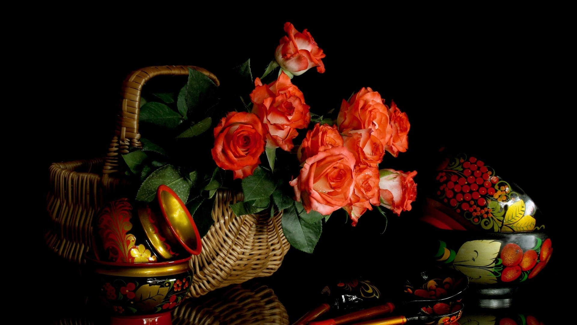 flowers wooden spoons dishes still life wallpaper background