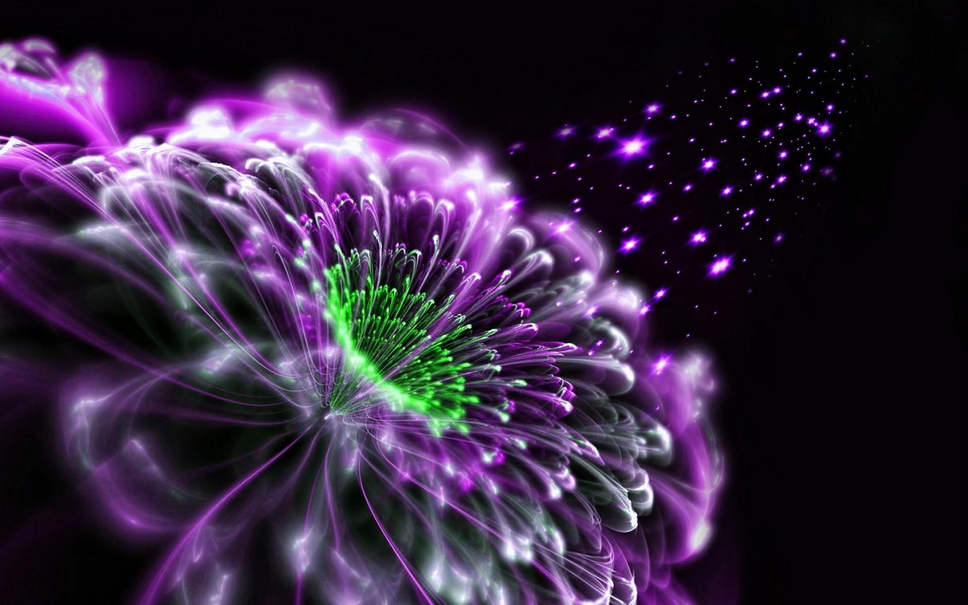 3D purple flowers on black background images