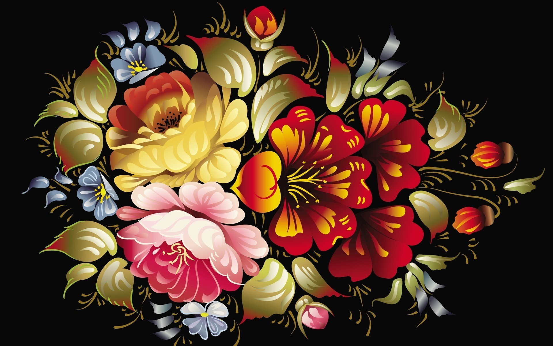 Black Background Wallpaper With Flowers 2 Background