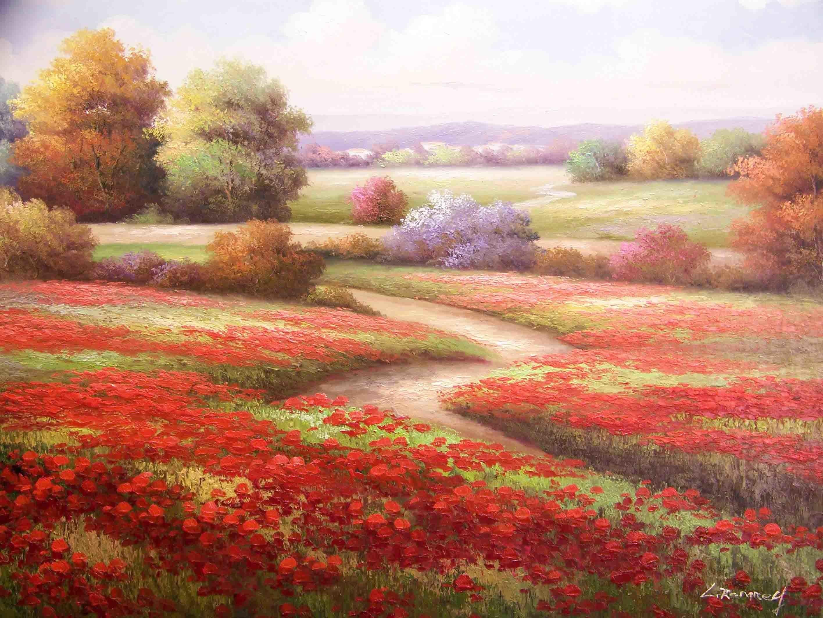 drawings fields flowers paths poppies wallpaper (#479259) / Wallbase.cc