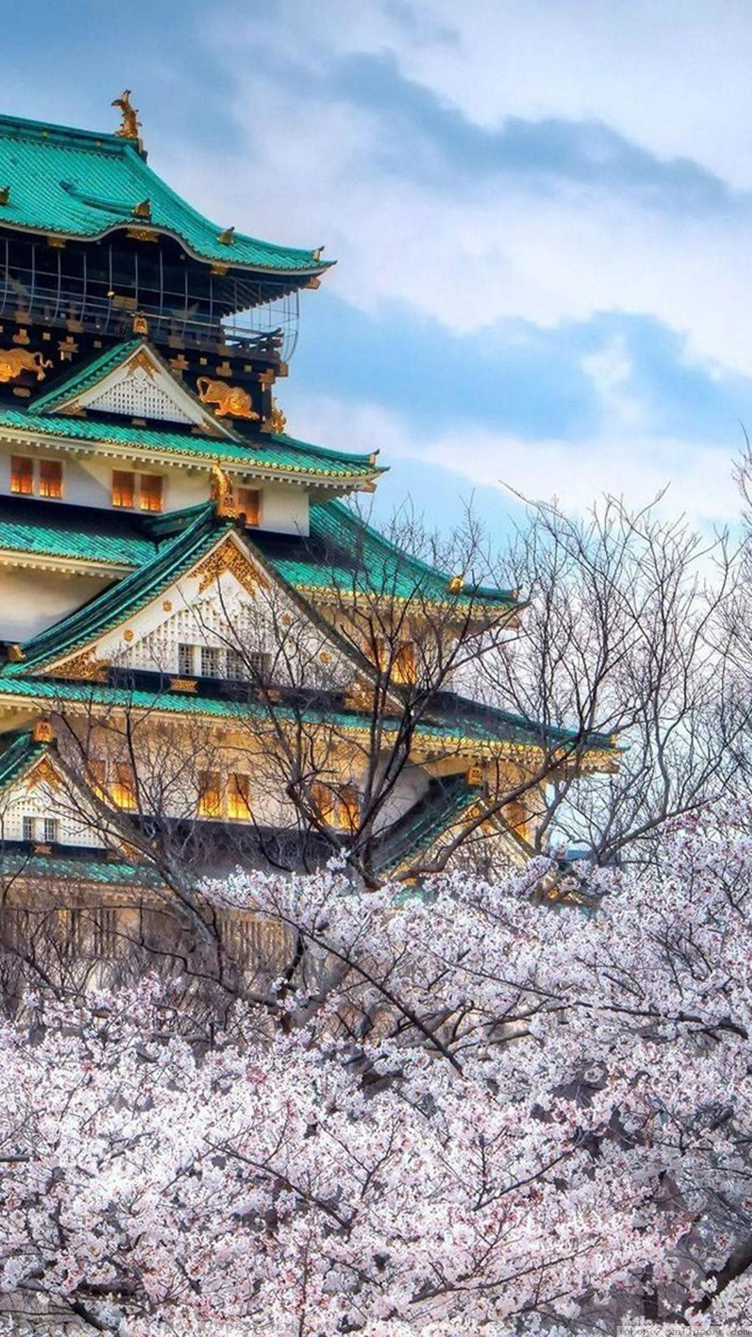 Cherry Blossoms Temple Architecture iPhone 6 wallpaper