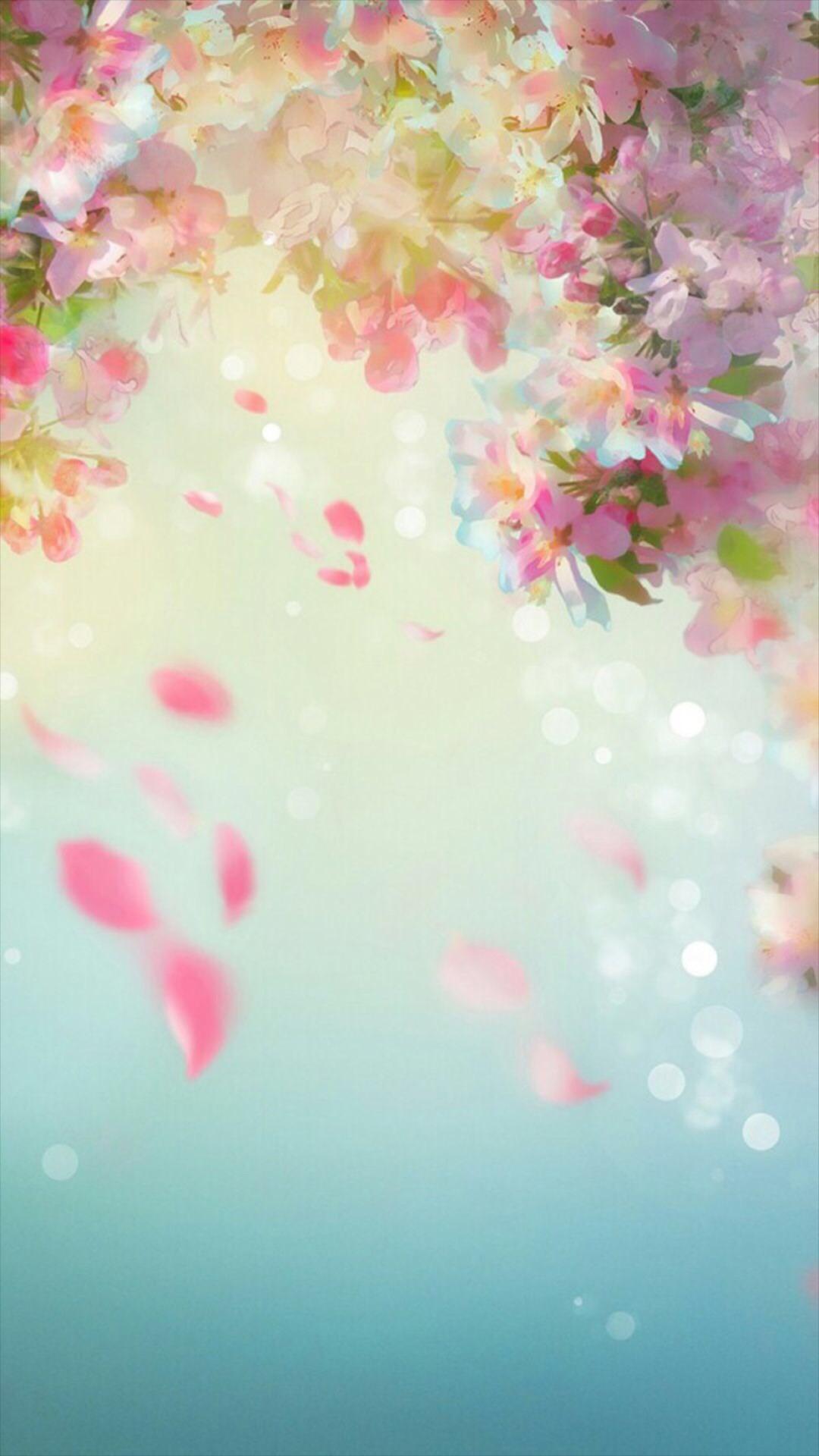 Flower petal painting wallpaper.Flowers, petal, dream, watercolor, green,  vintage