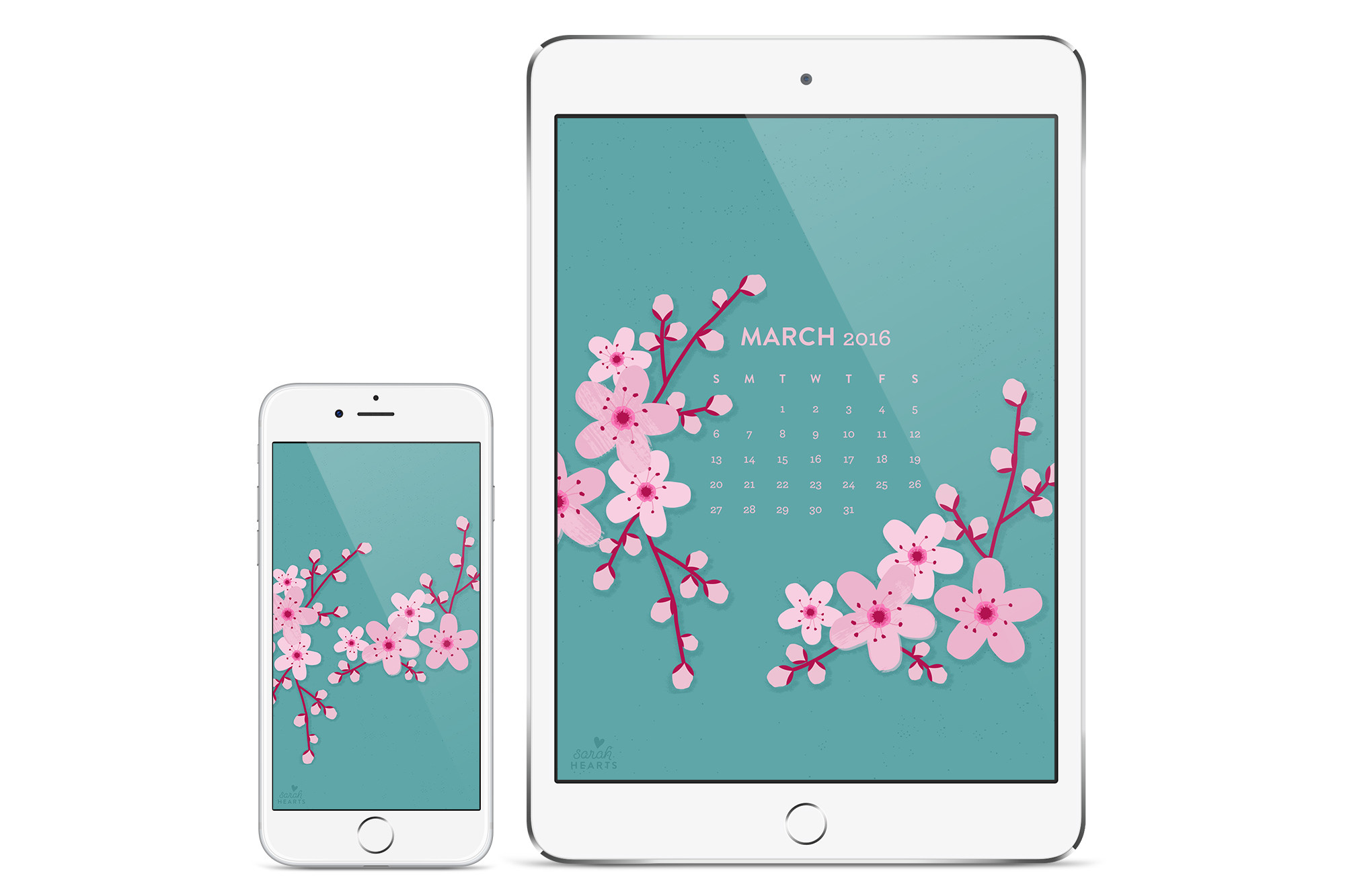 Add some beauty to your computer, phone or tablet with this free cherry  blossom calendar