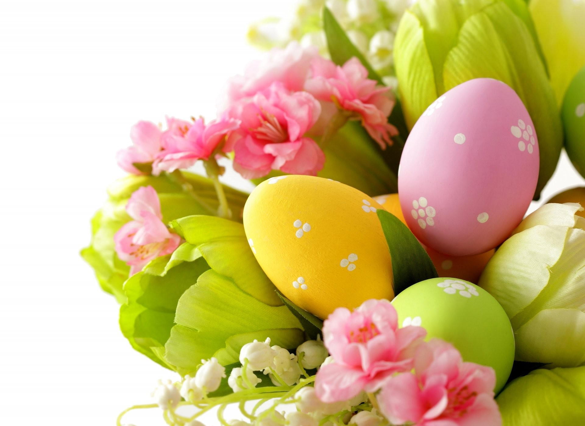 easter spring flower leaves lily of the valley eggs