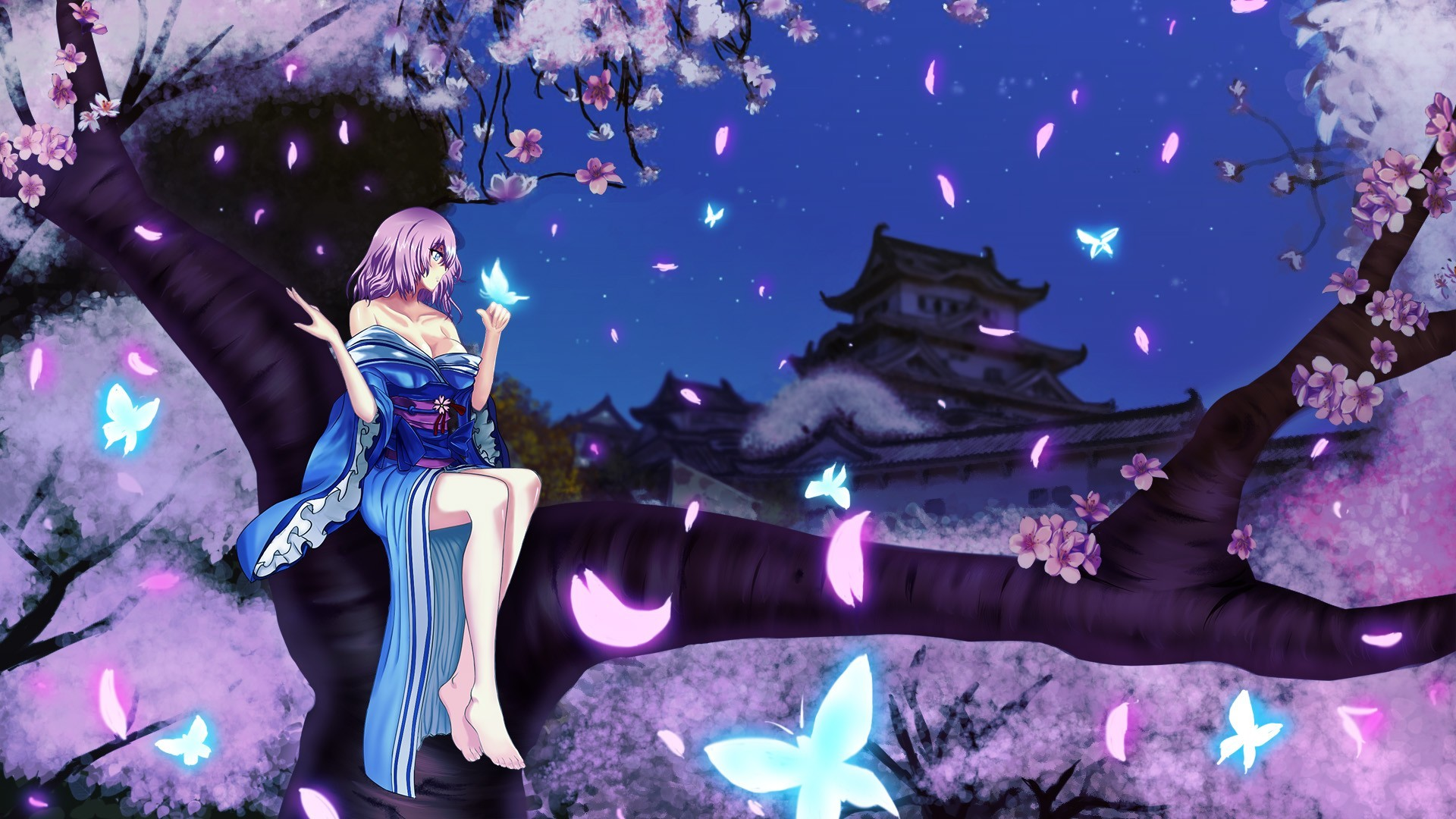 The Cherry Blossom Girl | Download Girl Sitting In Cherry Blossom Tree  Wallpaper 41322 Wallpaper