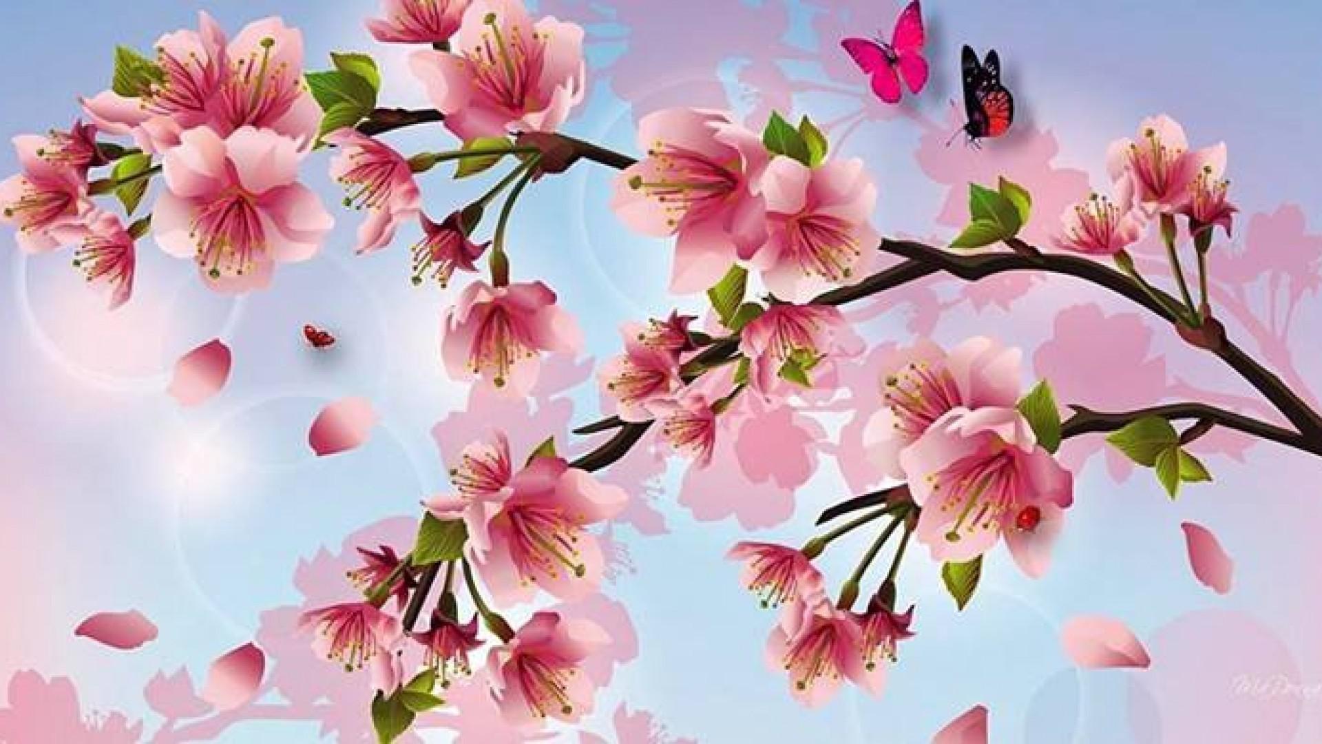 Cherry Blossom Painting Wallpaper