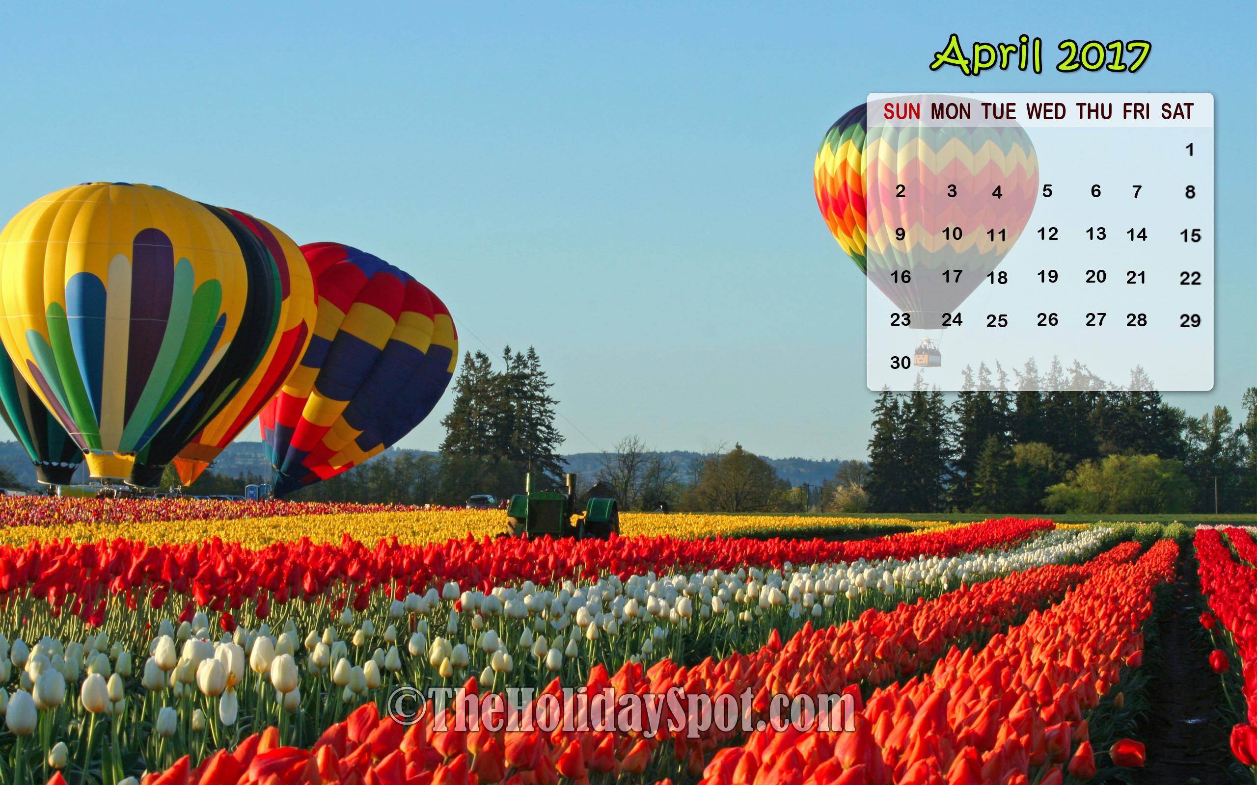 April 2017 Calendar Wallpaper of Tulip flowers